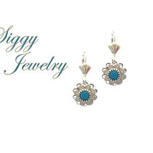 Swarovski Crystal Blue and White Flower Earrings